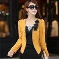 6 cores terno jaqueta L-5XL frete grátis 2015 Coreano nova primavera plus size casacos mulheres de Slim OL trespassado casaco feminino