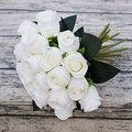 18 cabeças/ramo rosa mão flores artificial flor de seda para o casamento decoração de casa nupcial falso flores fleur artificielle rosas