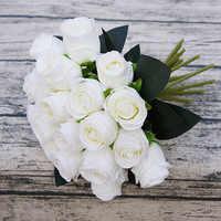 18 têtes/bouquet rose main fleurs fleur de soie artificielle pour mariage décoration de la maison de mariée faux flores fleur artificielle roses