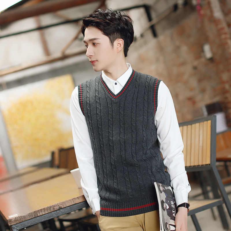 54e21c62e8ef10 ... 100% Cotton Vest Men 2018 Autumn Winter New Classic V-neck Sleeveless  Sweater Cotton ...
