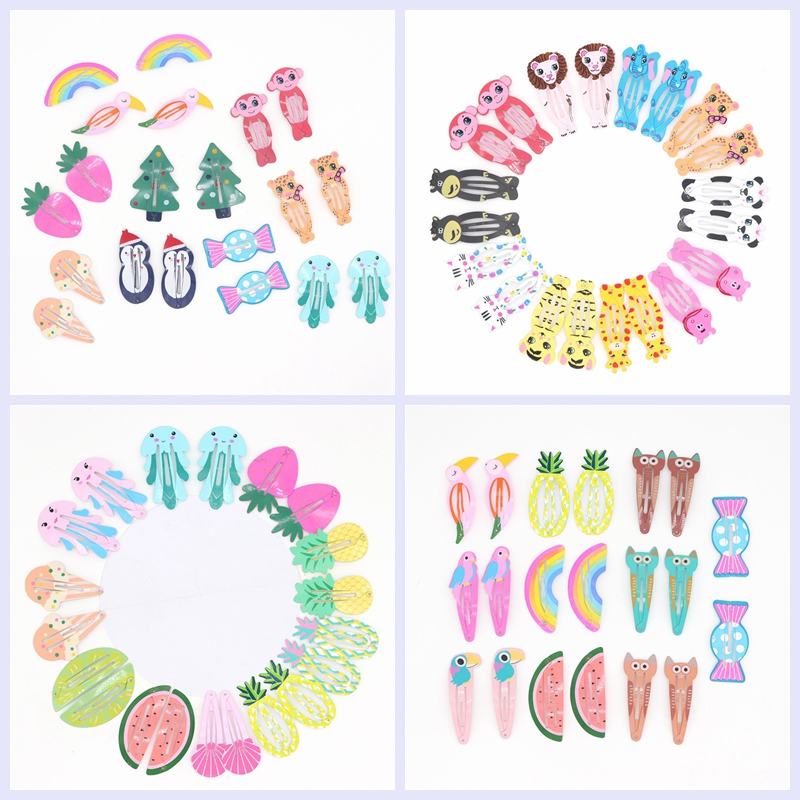 20Pcs Cute Colorful Snap Hair Clips For Girls Hair Accessories Kids Baby Animal Fruit Pattern Print Hairclip Metal Hair Pins Barrette With Yarn Bag