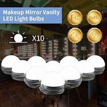 все цены на LED Makeup Mirror Lamp 220V Make up Vanity Table Mirror Bulb US EU UK Plug Dimmable 10 Bulbs Kit Hollywood Cosmetic Wall Lamp онлайн