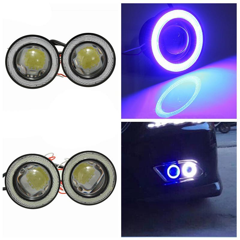 2Pcs/lot Car Fog Lights Universal Waterproof 1200Lm Angel Eyes COB LED DRL Daytime Signal Bulb 12V 30W Auto Fog Lamp Car Light