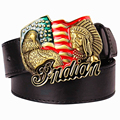 Fashion men's leather belts metal buckle American flag retro big head Indian chief western style belt hip hop Street Dance belt