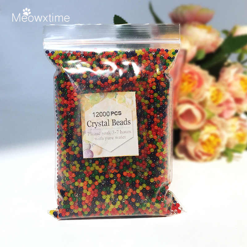 12000PCS/bag Water Beads Pearl Shaped Crystal Soil Mud Grow Bio Gel Ball For Flowers Plant Gun Aqua Gel Beads Polymer Orbiz Toy