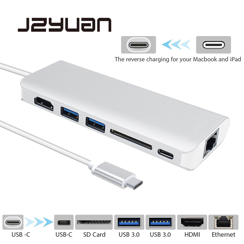 JZYuan USB Type C 3.1 HUB Multiport Type C PD Charging RJ45 Gigabit Ethernet USB 3.0 HDMI 4K Card Reader HUB Adapter for MacBook usb c charging hub super speed usb c type c to 4 ports multiport adapter for apple macbook and more type c devices silver href