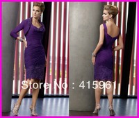 vestidos de madrina con chaqueta Purple Short Straight Beaded Lace 2018 Mother of Bride Dresses With Jacket
