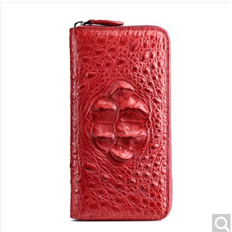 RVH No stitching authentic crocodile leather wallet minimalist fashion lady long Color zipper handbag Big Bill wallet banknote