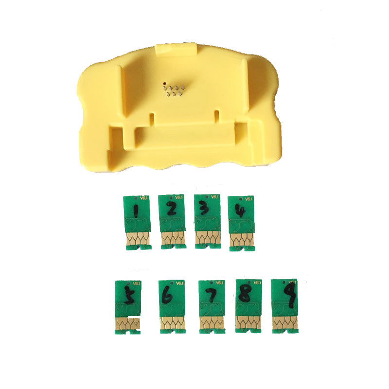 Hotest! 1PCS Chip Resetter + 9PCS for Epson 7890 9890 7908 9908 Compatible Chips Resetter Chips new original dx6 print head f191040 printhead compatible for epson 7700 9700 7710 9710 7890 9890 7908 9908 7900 7910 printer