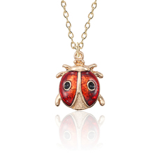 Fashion Creative Enamel Insect Animal Necklace Lady Mini Beetle Ladybug Pendant Personality Gold Jewelry Child Collier
