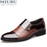 MIUBU Fashion Men Dress Shoes Genuine Leather Oxford Shoes Lace Up Casual Business Formal Men Shoes Brand Men Wedding Shoes