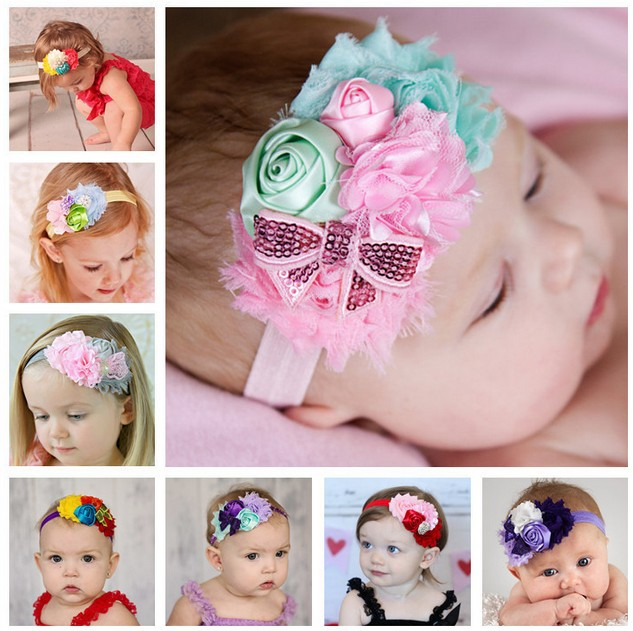 TWDVS Newborn Flower Headband Kids Mix 4 Flower Pearl diamond Rose Flower hair band Elastic Kids Flower hair Accessories W022 feather print lace up u neck tank top