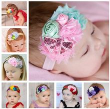 TWDVS Newborn Flower Headband Kids Mix 4 Flower Pearl diamond Rose Flower hair band Elastic Kids Flower hair Accessories W022(China)