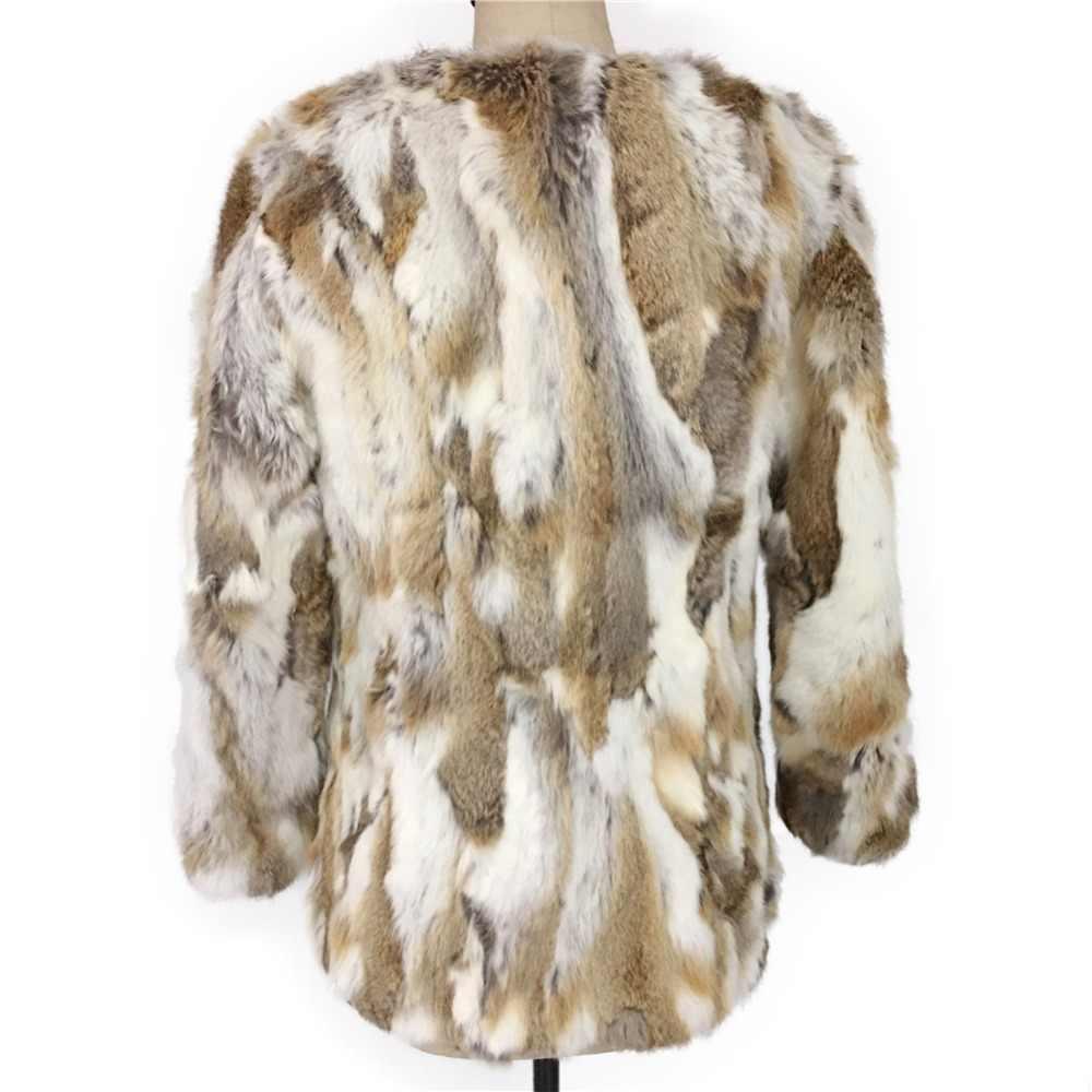 Nouveau manteau de fourrure véritable à la mode pour les femmes pièces de fourrure de lapin naturel manteaux grande taille en cuir véritable manteau de fourrure mi-long
