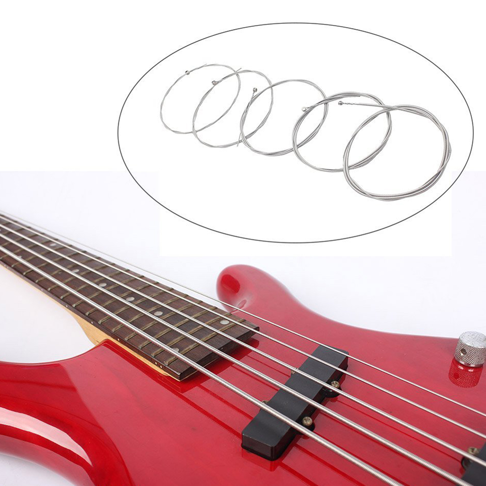 1 Set of 5 Pcs Steel Strings for 5 String Bass Guitar Diameter 0.12 inch-0.04 inch Musical Instrument Guitar Parts Accessories rotosound rs66lc bass strings stainless steel