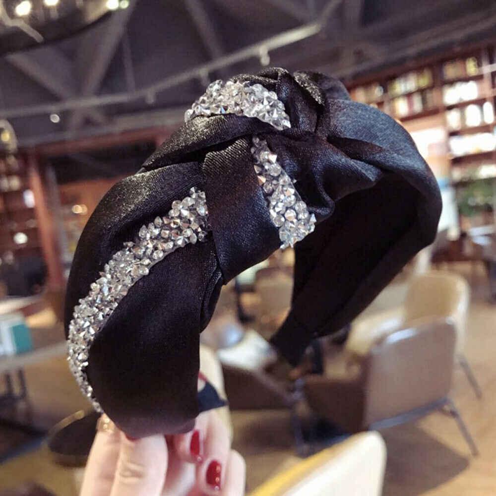 Женский Алмазный полосатый галстук-бабочка в форме Креста широкая полоска ткани повязка для волос аксессуары для волос черный синий серый розовый