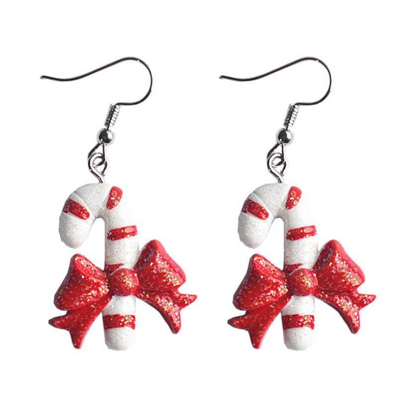 """DoreenBeads เรซิ่นต่างหูเครื่องประดับคริสต์มาสสีขาวเกล็ดหิมะ Santa Claus X'mas Tree หมวก 5 ซม.(2"""") ยาว 1 คู่"""