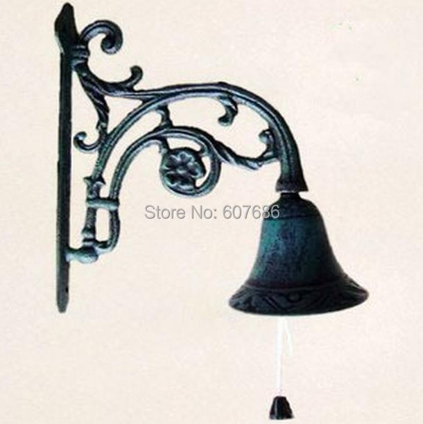 New Cast Iron Bell On Vine Hanger Wall Mount Metal Decorative Dinner Door Home