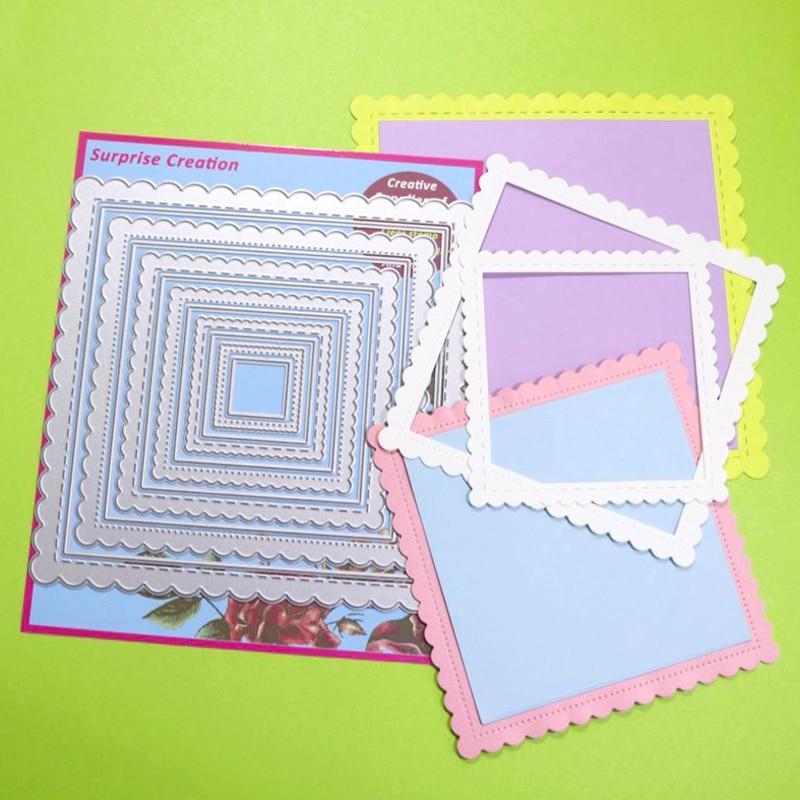 12-Piece Cutting Dies Piercing & Stitched  Square Cardmaking Scrapbook DIY Craft Metal Stencil