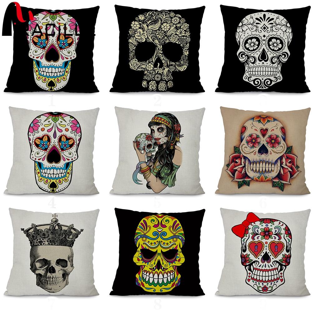 ᓂMiracille Square 18 algodón Lino Cojines sin relleno cráneo arte ...
