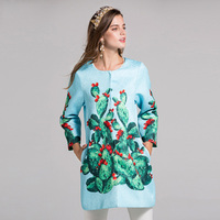High Quality New Autumn Runway Brand Designer Coat Newest Women's Long Sleeve Fashion Cactus printing Coats Outerwear 2019