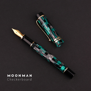 Image 2 - New Moonman M600 Celluloid Checkerboard Fountain Pen Germany Schmidt Fine Nib 0.5mm Excellent Fashion Office Writing Gift Pen