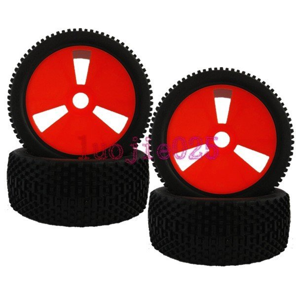 83R-801 4PCS RC 1/8 Off-Road Car Buggy Rubber Tyre Tires & Wheel Rim Red HEX =17mm Have foam inserts