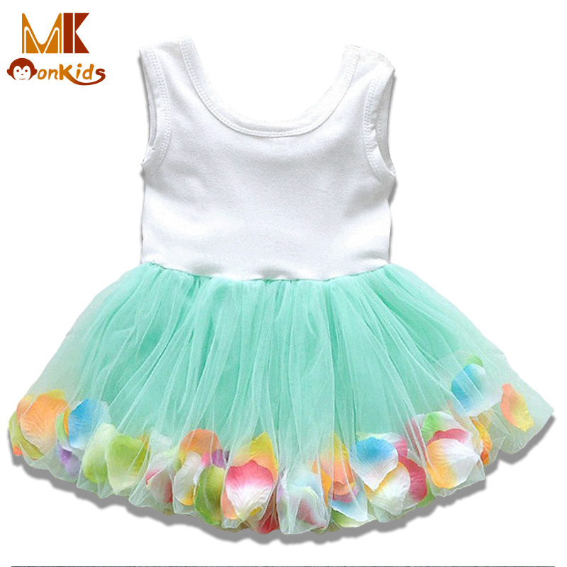 Monkids Summer Colorful Mini Tutu Dress Petal Hem Dress Floral Clothes Princess Baby Dress Summer For Baby Dresses Girl