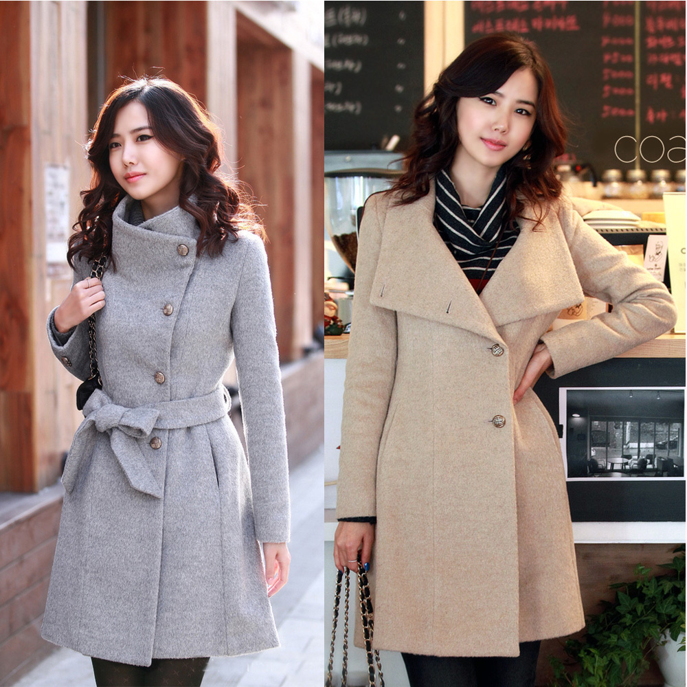 New Women's Lady's Single Breasted Woolen Wool Slim Fitted Winter ...