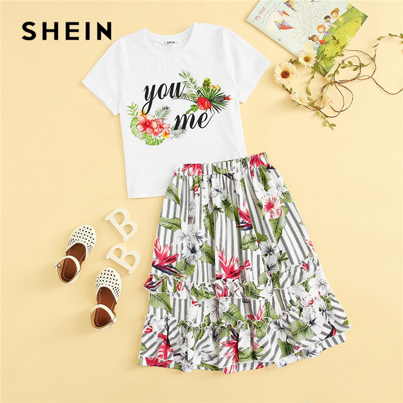 SHEIN Kiddie Girls Tropical Print Top And Striped Ruffle Hem Skirt Kids Outfits 2019 Summer Vacation Short Sleeve Beach Sets plus ruffle hem skirt