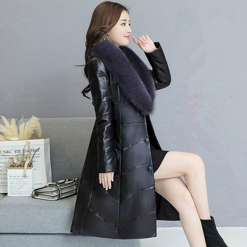 Autumn winter Large Size Women Coat Fox Fur collar Button Decoration Long Sleeve Thick Warm   Leather   Coat Down Parkas Jackets