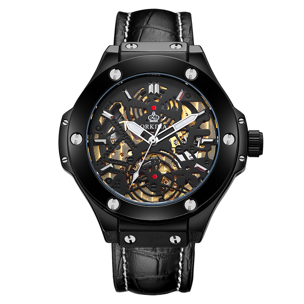 MG. ORKINA Male Sport Watch Stainless Steel Case Mens Automatic Wristwatches  Skeleton Dial Leather Strap Relogio Mechanical mg  orkina leather strap skeleton