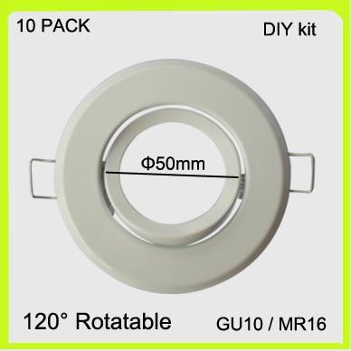 Jednostavno instalirajte 10 PACK GU10 držač MR16 okvir GU5.3 nosač metalni bijeli, kromirani završetak LED reflektor okrugli dia50mm