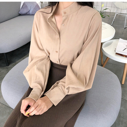 2018 new spring women chic vintage stand collar blouse elegant solid color lantern sleeve top female casual work shirts tops 2