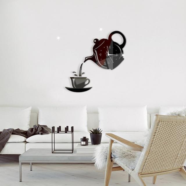 Coffee Cup Teapot 3D Wall Clock 3