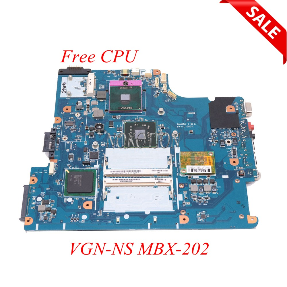 NOKOTION Laptop Motherboard For Sony Vaio VGN-NS Series DDR2 A1665247A MBX-202 M790 1P-0087500-6011 Main Board Free CPU works order new mbx 215 m930 free shipping laptop motherbord for sony vpcf11 series notebook pc main board comapre before order page 1