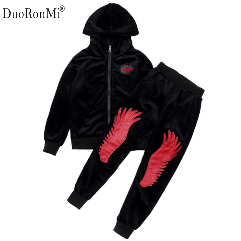 Gold Velvet Kids Boys Clothing Set Thicken Sport Suit For Children Teenage Girls Clothes Sets Boy Korean Brand Cool  Tracksuit teenage girls clothes sets camouflage kids suit fashion costume boys clothing set tracksuits for girl 6 12 years coat pants