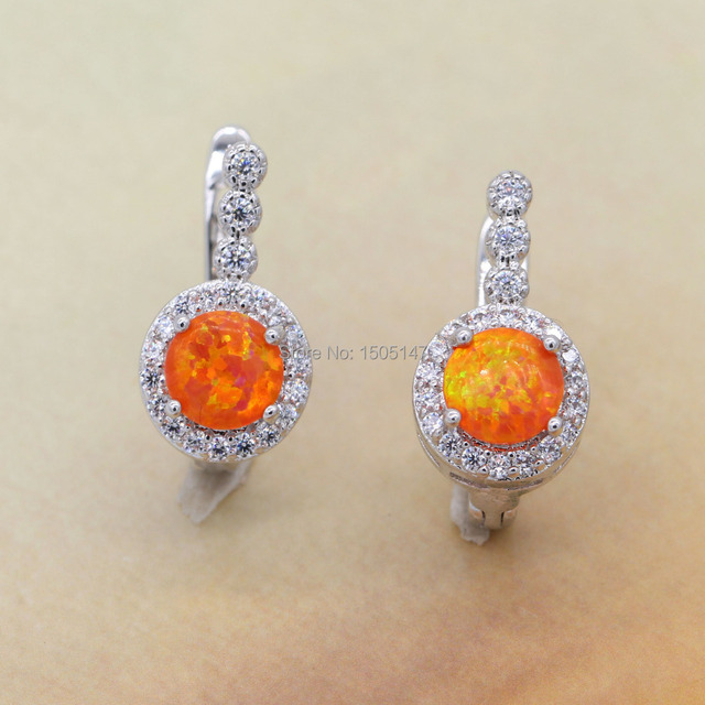 Beautiful Cute Simple Round Wholesale Jewelry Orange Fire Opal 925 stamp Earrings