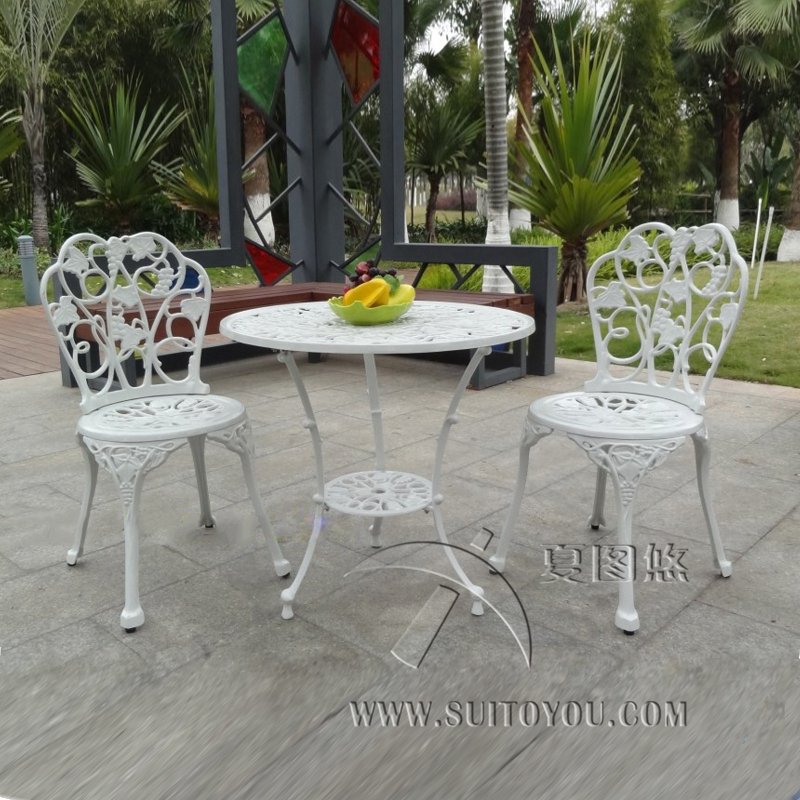 3 Piece Cast Aluminum Table And Chair Patio Furniture Garden Furniture  Outdoor Furniture (white)