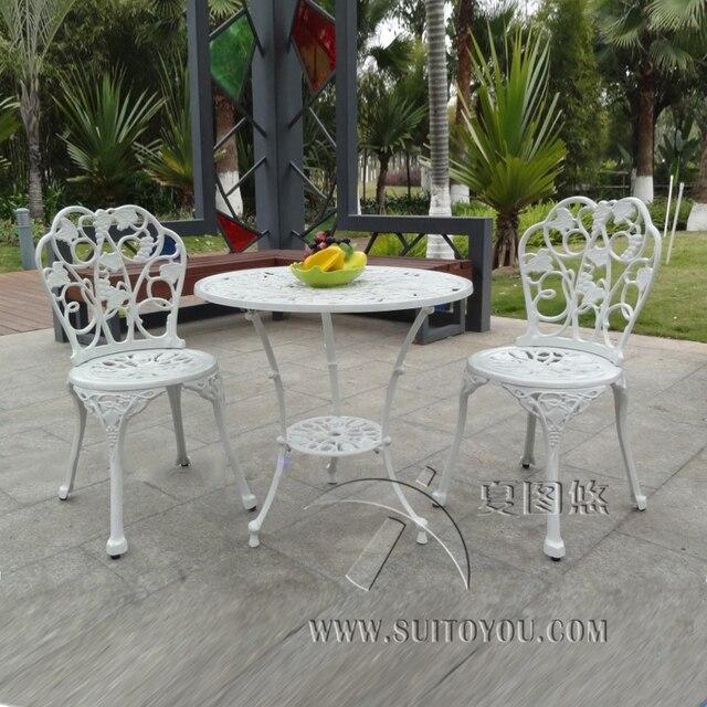 3 sola pieza de fundición de aluminio mesa y silla muebles de jardín ...