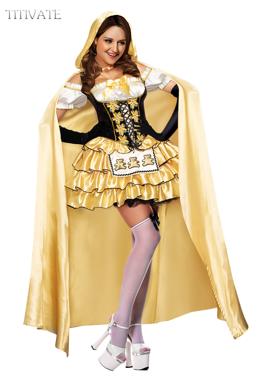 TITIVATE Sexy Luxury Halloween Costume Yellow Ruffles Layered Mini Fancy Dress Party Dancing Cosplay Outfit For Adult Women