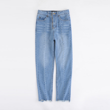 2017 Women Spliced Ankle-length Straight Jeans High Elastic Front Visible Zipper Fly Slim Light Blue Demin Pants