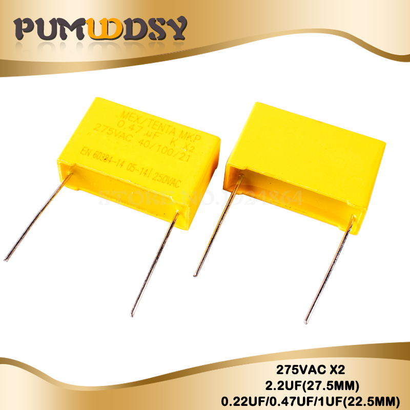 10pcs 275VAC Pitch 22.5MM 27.5MM X2 Polypropylene Film Capacitor 224K 0.22UF 474K 0.47UF 105K 1UF 225K 2.2UF