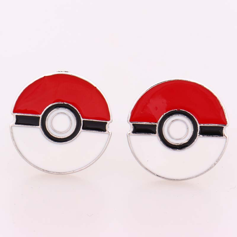 2016 New Pokemon Go Cufflinks the Red and White Enamel High Quality Cuff Links for Mens Wedding Shirts Pokemon Game Jewelry