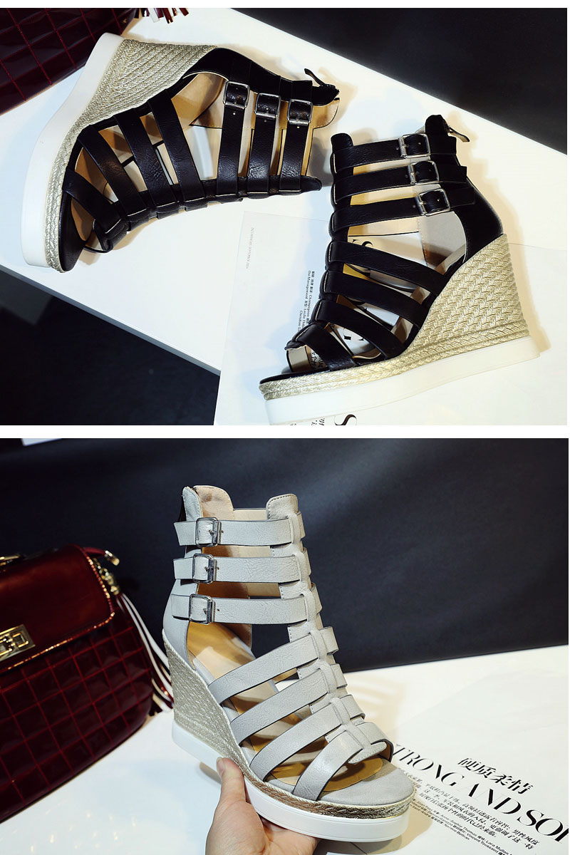 Gladiator Shoes, Women's Platform Wedges, High Heel Sandals, Rome Ladies Wedge Heels 12