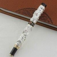 Jinhao Винтаж Роскошный Ручка роллер двойной играющий Дракон жемчуг, серебро и черный металл вырезка тиснение тяжелая ручка для офиса