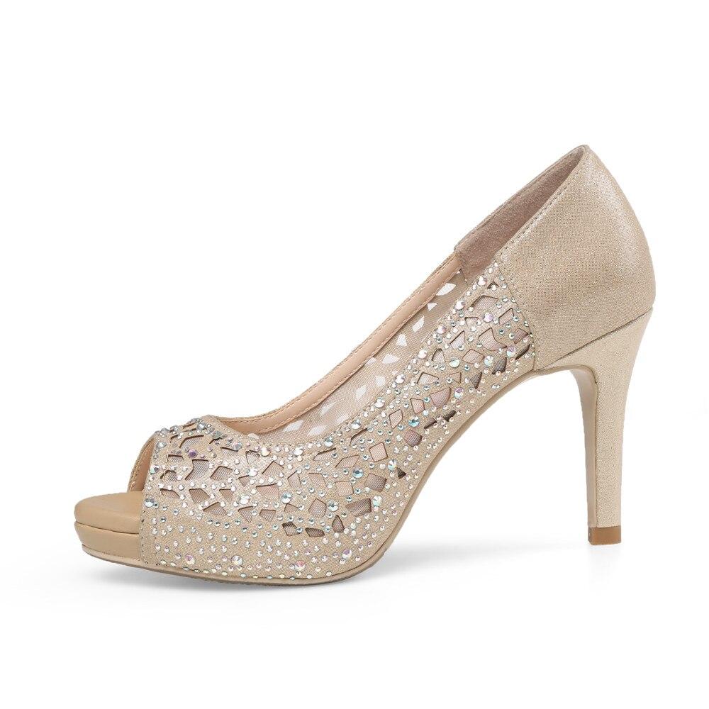 Ayakk.'ten Kadın Pompaları'de MORAZORA 2020 sıcak satış kadın pompaları zarif peep toe yaz ayakkabı sığ basit parti düğün ayakkabı 8.5cm yüksek topuk ayakkabı kadın'da  Grup 2
