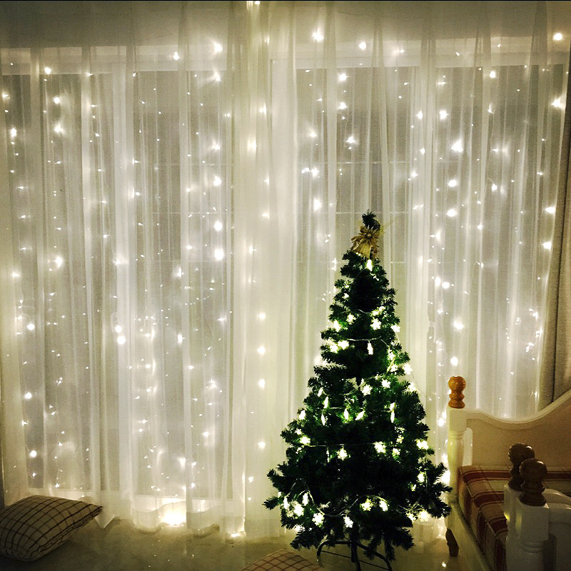 3Mx3M 300LED icicle curtain string lights fairy lights Christmas wedding family garden party decoration US EU US plug ...