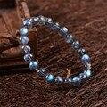 8mm 9mm Genuine Natural Cinza Azul Luzes De Cristal Labradorite Rodada Bead Pulseiras Para As Mulheres Charme Pulseira Trecho Femme