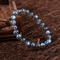 8mm 9mm Genuine Natural Gray Blue Lights Labradorite Crystal Round Bead Bracelets For Women Stretch Charm Bracelet Femme